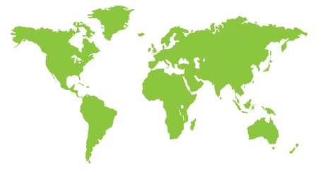 A world continent map in Green Illustration
