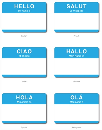 nombre: Foreign Language of Hello My name is sticker in English, French, Italian, German, Spanish, Portuguese