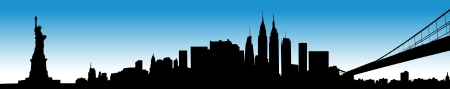city building: Vector of the New York skyline on blue background Illustration