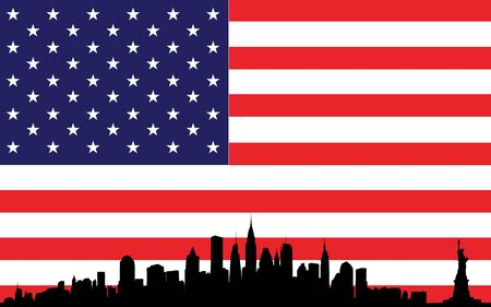 Vector of skyline over new york city on the background the flag of united states of america