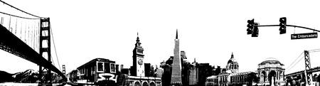 San Francisco Collage Vector Illusztráció