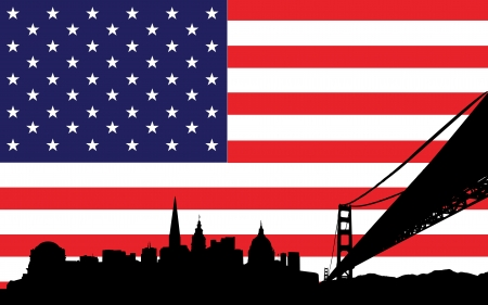 bay area: Vector of skyline of san francisco on the background the flag of united states of america