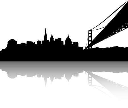 reflaction: Vector of the San Francisco on white background