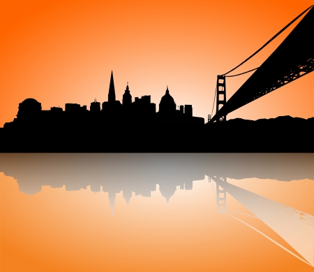 san francisco bay: Vector the San Francisco sunset skyline panorama silhouette Illustration