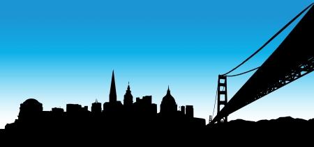 golden gate: Vector the San Francisco skyline on blue background Illustration