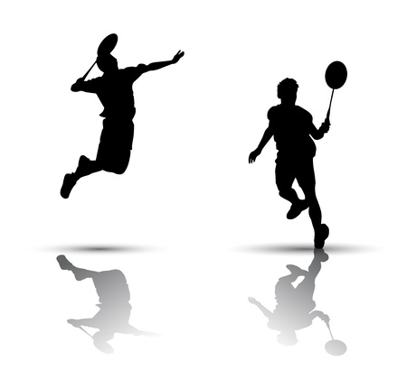 Vector badminton players. Silhouette on white background Ilustração