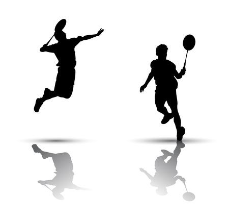 Vector badminton spelers. Silhouet op witte achtergrond Stock Illustratie
