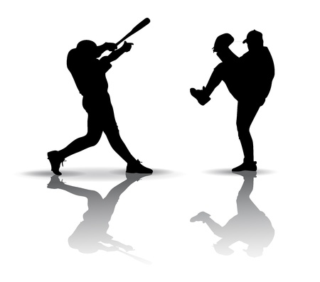 throwing ball: Baseball players. Silhouette on white background