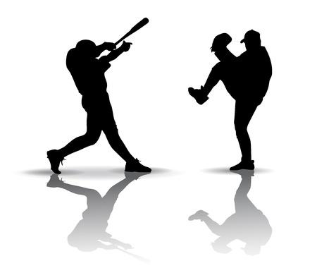 Los jugadores de b�isbol. Silueta sobre fondo blanco Vectores