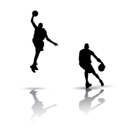 Basketball players. Silhouette on white background