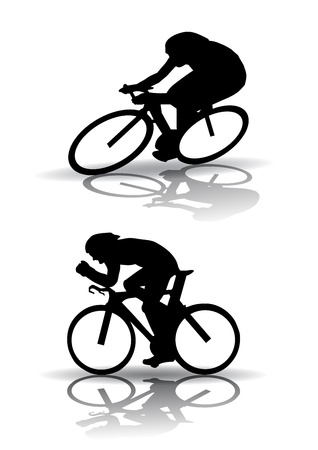 racing: Vector graphic male on a bicycle. Silhouette on white background Illustration