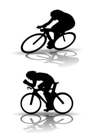 Vector graphic man op een fiets. Silhouet op witte achtergrond