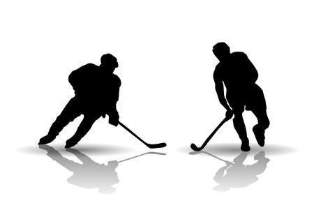 hockey sobre cesped: Vector de hockey sobre hielo y hockey de campo Siluetas Jugadores