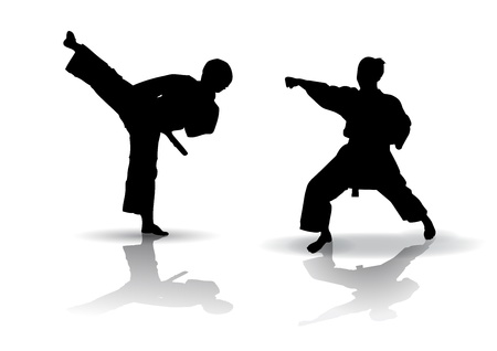 Black vector illustration of karate Silhouette Иллюстрация