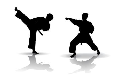 Black vector illustration of karate Silhouette Illustration