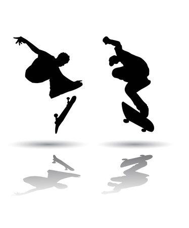 いくつかのスケート ボードのシルエットのベクター