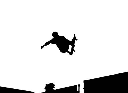 Silhouette Vector of skateboarding doing a 360 backside air