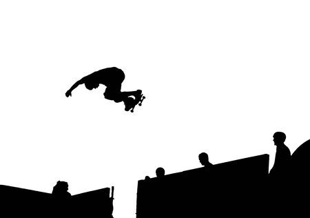 skateboarding tricks: Silhouette Vector of skateboarding doing a backside air Illustration