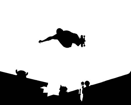 Silhouette Vector of skateboarding doing a indy frontside air Illustration