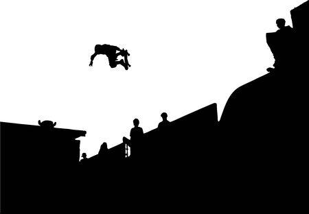 Silhouette Vector of skateboarding doing a backside air Illustration