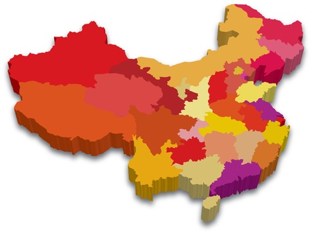 mapa china: Mapa colorido Provincia de China
