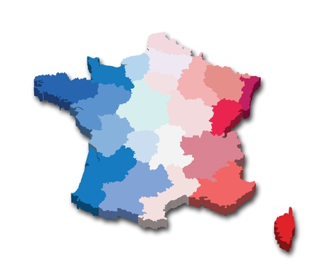 Vector illustration of a 3D province map and flag from France Illustration