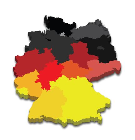 Vector illustration of a 3D state map from German