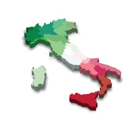Vector illustration of a 3D province map and flag from Italy Illusztráció