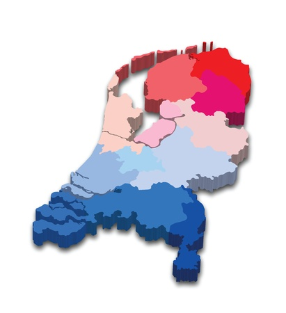 Vector ilustraci�n de un mapa de provincia 3D y bandera de Holanda