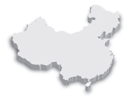 Black and white 3D map of China Illustration