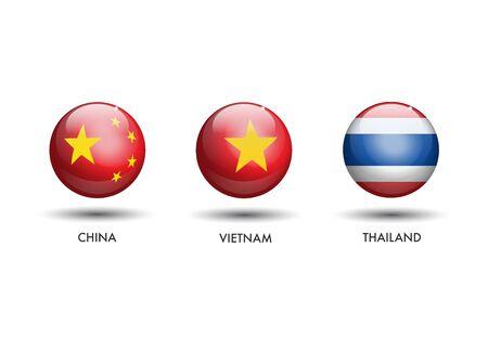 3D China Vietnam Thailand Flags as a Sphere