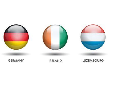 Duitsland Ierland Luxemburg Vlaggen als een Sphere