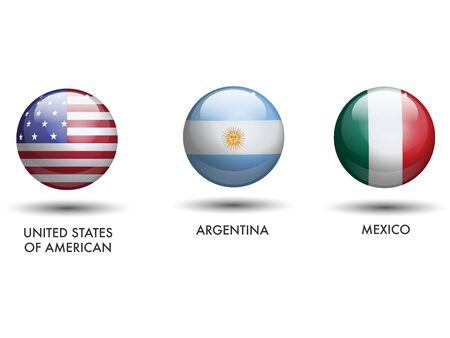 United States of America Argentina Mexico Flags as a Sphere