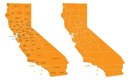 Orange County California Map vector met namen