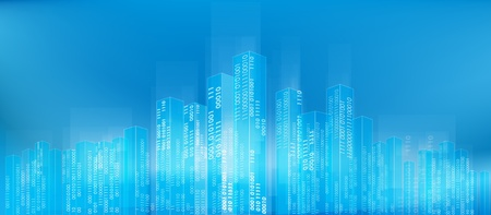 Abstract digital city skyline with binary codes as background