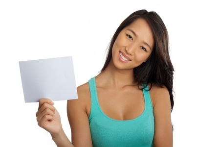 Beautiful Asian woman with blank piece of paper