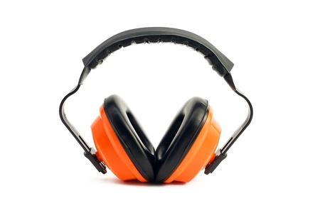 ear protection: construction ear protection earmuff on white background