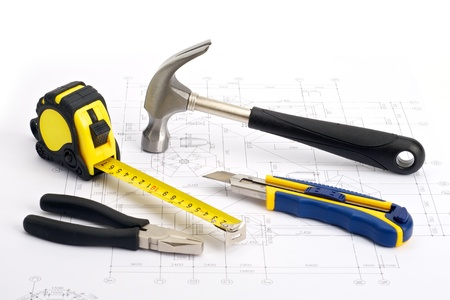 Various home work tools on blueprint