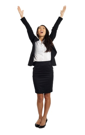 Formal Asian Business woman cheering with open arms