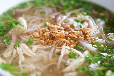 Delicious Vietnamese Chicken Pho Soup with rice noodle Stock Photo