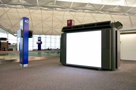 placeholder: Empty placeholder display at the international airport in Hong Kong