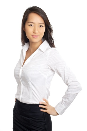formal shirt: Formal Asian Business woman with hands on hips Stock Photo