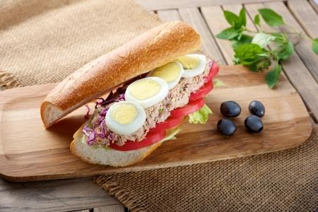 Fresh delicious Tuna Egg Sandwich on cutting board Stock fotó