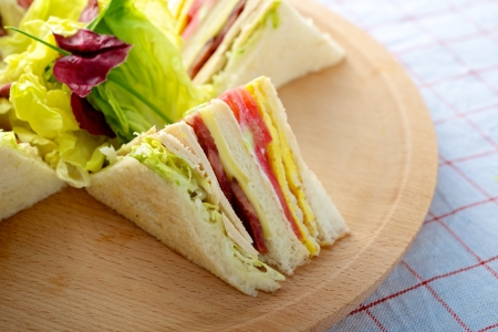 신선한 맛있는 터키 클럽 샌드위치 커팅 보드에