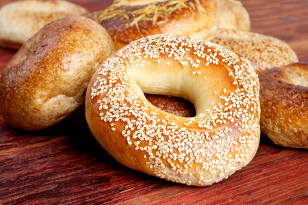 bagel: many bagels on the wooden surface