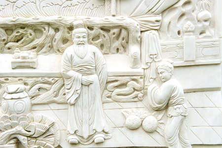 Chinese scholars carved on Chinese classical sculptures