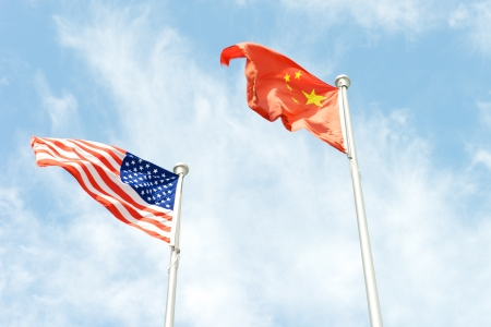 USA America and China flags next to each other