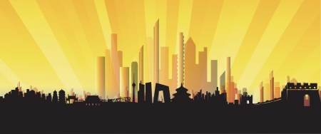 jing: Beijing City Skyline three-dimensional Silhouette vector artwork Illustration
