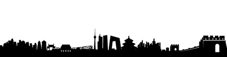 Beijing City Skyline black Silhouette vector artwork Illustration