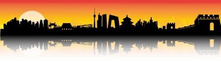 Beijing City Skyline Sunset Silhouette vector artwork